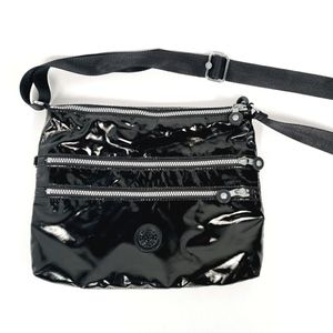 Kipling Black Shiny Crossbody Bag Shoulder Purse